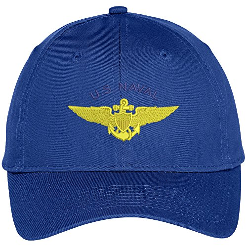 Trendy Apparel Shop Us Naval Aviation Embroidered High Profile Snapback Adjustable Baseball Cap - Royal Aviation Cap