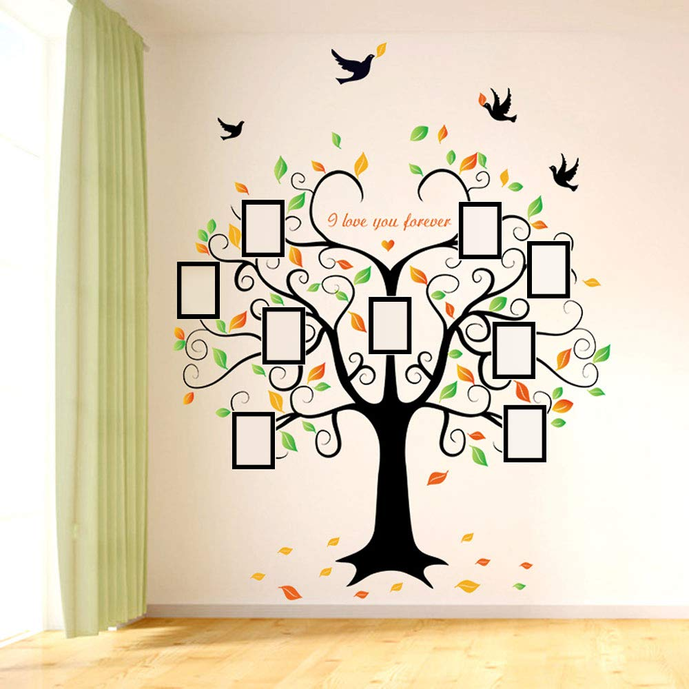 Family Tree Wall Decal - 9 Large Photo Picture Frames - Peel and Stick Wall Decal - Best Removable Wall Decal for Living Room, Bedroom, Kids Rooms, Mural Decor - 80'' Wide x 63'' Tall by GoGoDecal (Image #7)