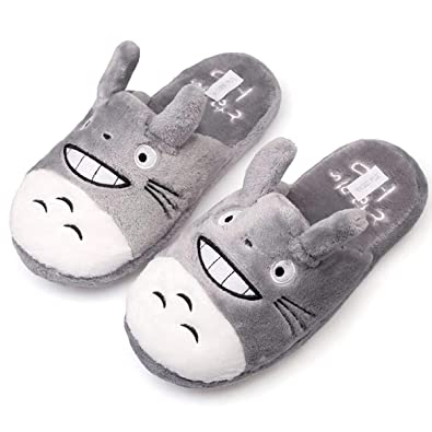 ea664245816 Yspring Anime Cute My Neighbor Totoro Plush Slippers Comfortable Indoor  Warm Shoes for Women(Size
