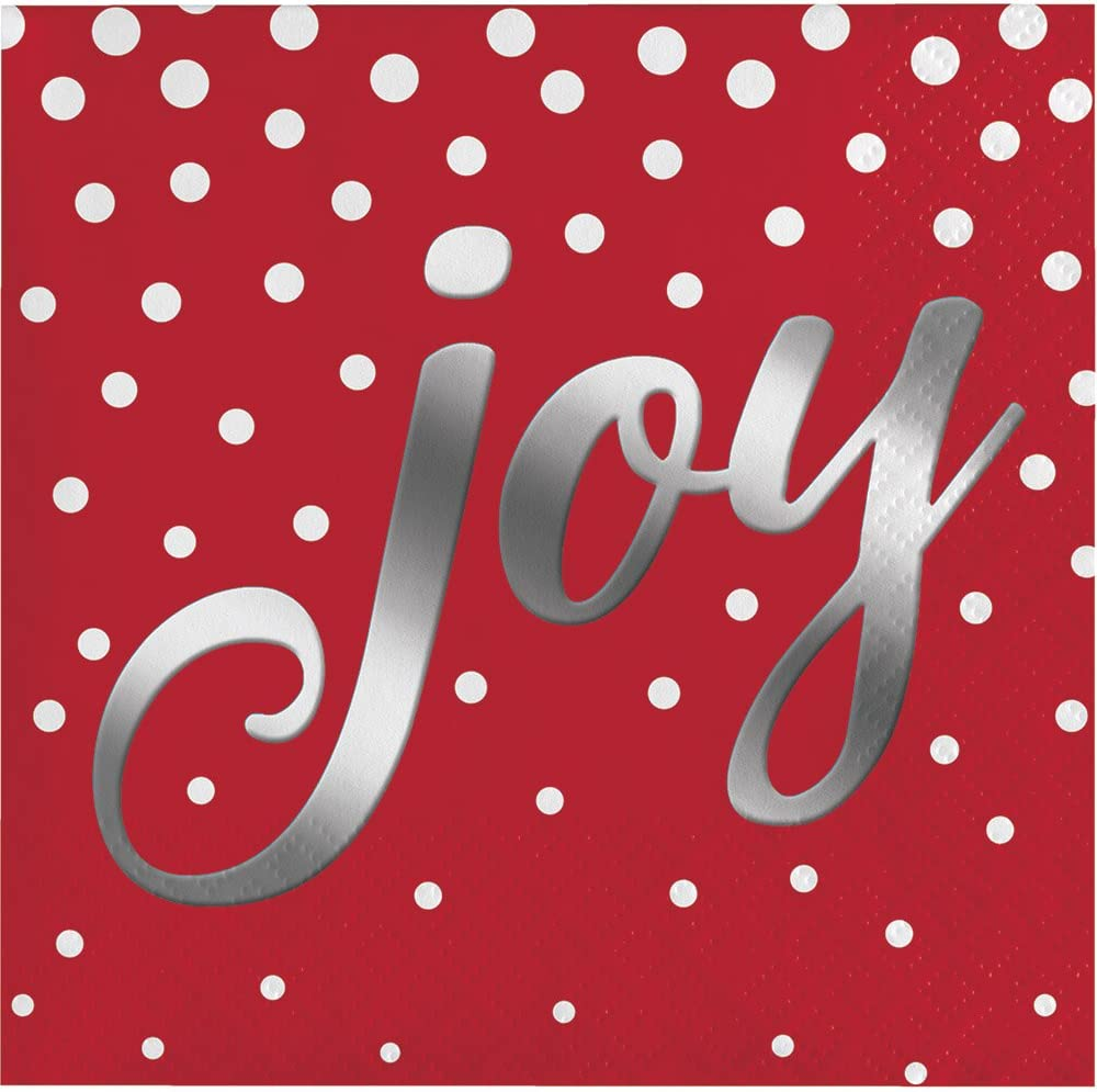Creative Converting 16-Count Beverage Paper Napkins, Holiday Sparkle and Shine Red