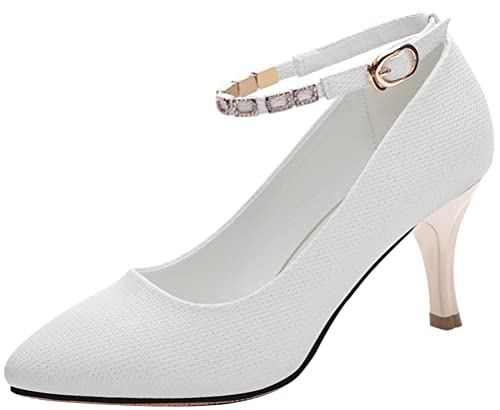 c0e5b19d8cc T Mates Womens Ankle Strap Pointed Toe Stiletto Heel Dressy Comfort Summer Pumps  Shoes (5 B