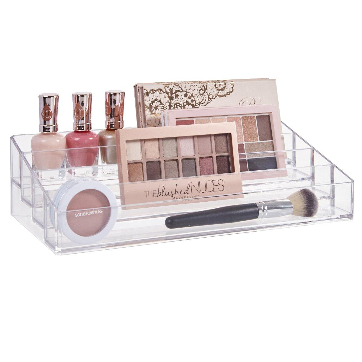 STORi Clear Plastic Multi-Level Makeup Palette Organizer
