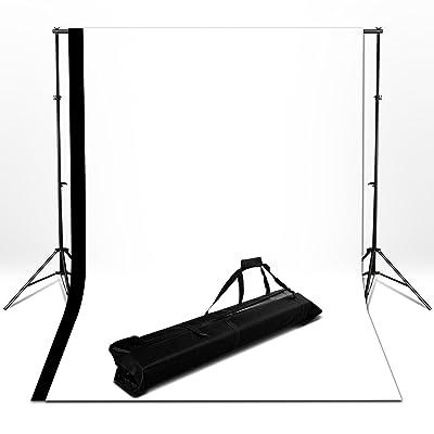 BPS Fondo Fotografía Estudio Backdrop Kit - 2x2m Sistema Soporte de Fondo + Fondos 1.6x3m (negro,blanco), Telón de Fondo de Vinilo para Disparo de Retrato y Vídeo