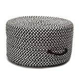 Colonial Mills Braided Round pouf/ottoman 20''x20''x11'' in Black Color From Houndstooth Pouf Collection