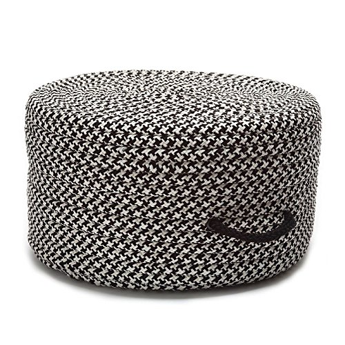 Colonial Mills Braided Round pouf/ottoman 20''x20''x11'' in Black Color From Houndstooth Pouf Collection by Colonial Mills