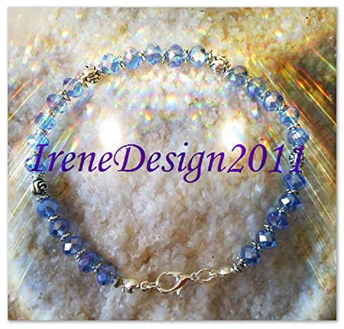 Facetted Blue Crystal & Roses Bracelet