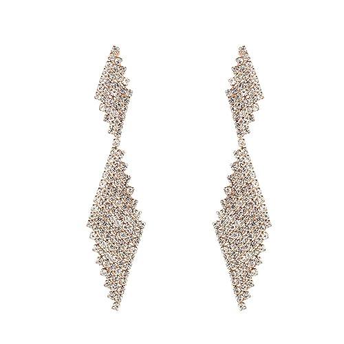 df95930dcd Dangle Rhinestone Earrings For Women - Double Rhombus Sparking Rhinestone  Geometric Drop Dangling Earrings for Gifts