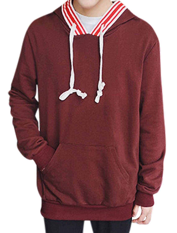 sourcingmap? Men Stripe Prints Paneled Kangaroo Pocket Hooded Sweatshirt