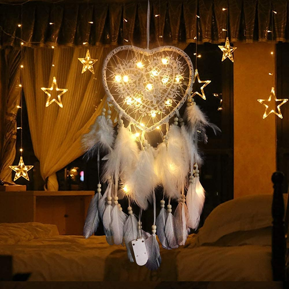 Fuusun White Heart Dream Catcher with LED Lights Girl Room Bed Canopy Decorations Boho Girls Bedroom Decor for Teen Girls
