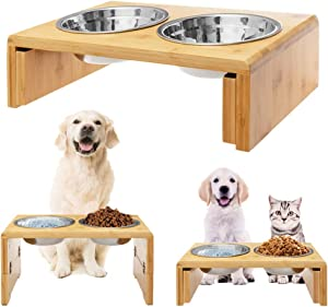 Raised Pet Bowls Elevated Feeder for Dogs Cats - Adjustable Bamboo Food and Water Bowls Stand Feeder, Available in 8.5 inches and 4.5 inches with 2 x Stainless Steel for Free