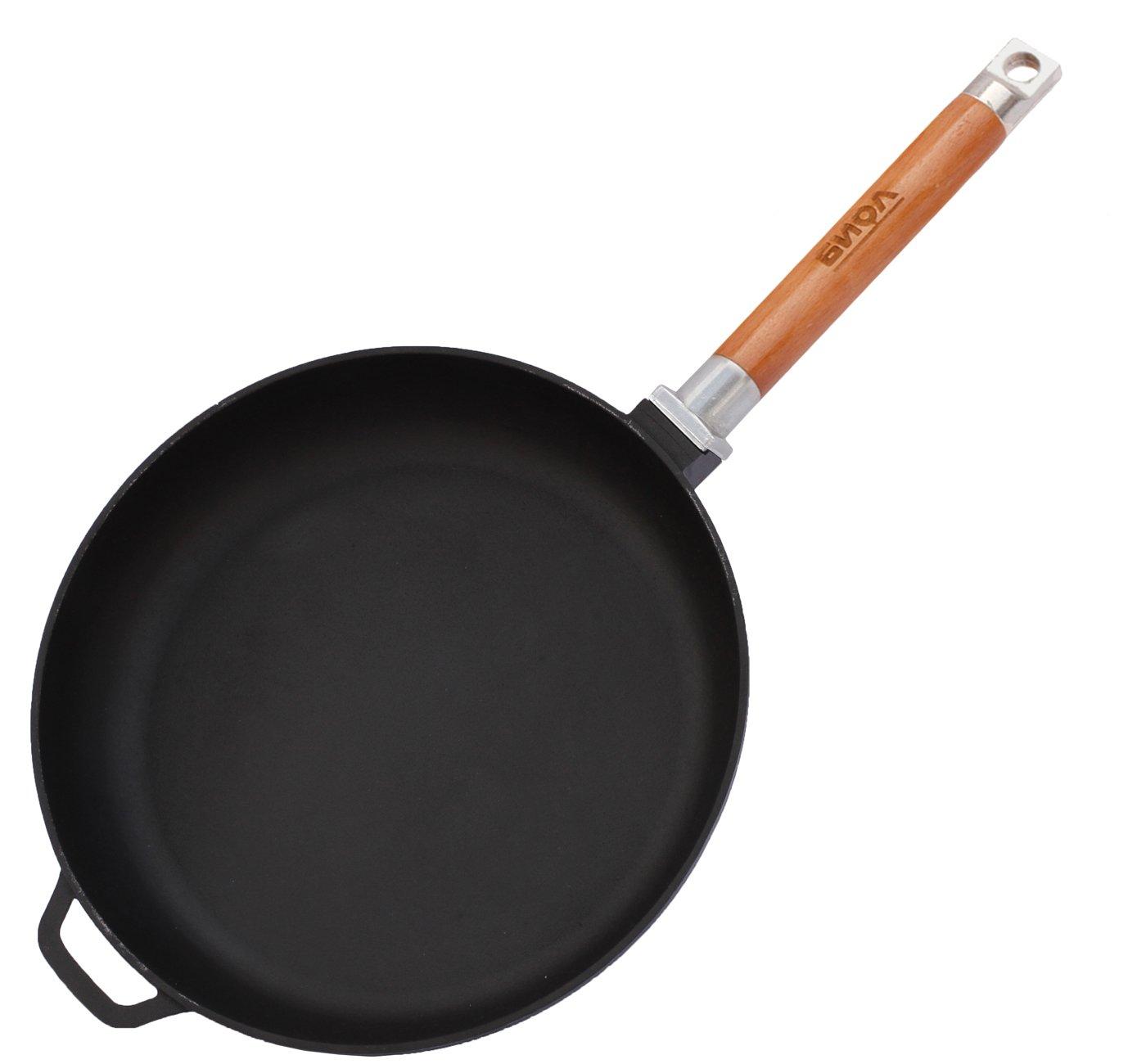 20cm tous feux dont induction 24 ou 26cm BIOL Po/êle en fonte avec une poign/ée amovible en bois pour une cuisson saine 22 20