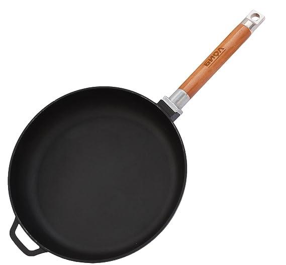 Sartén de hierro fundido, mango extraíble de madera, de inducción, hierro fundido, Negro , 20 cm: Amazon.es: Hogar