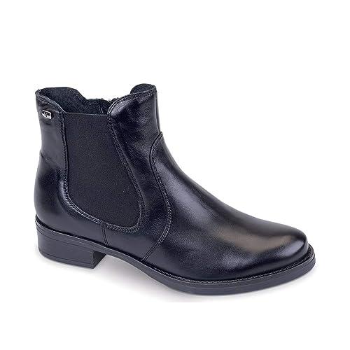 scarpe sportive b95e0 3b09a VALLEVERDE Scarpe Donna Stivali in Pelle nera 49121-NERO ...