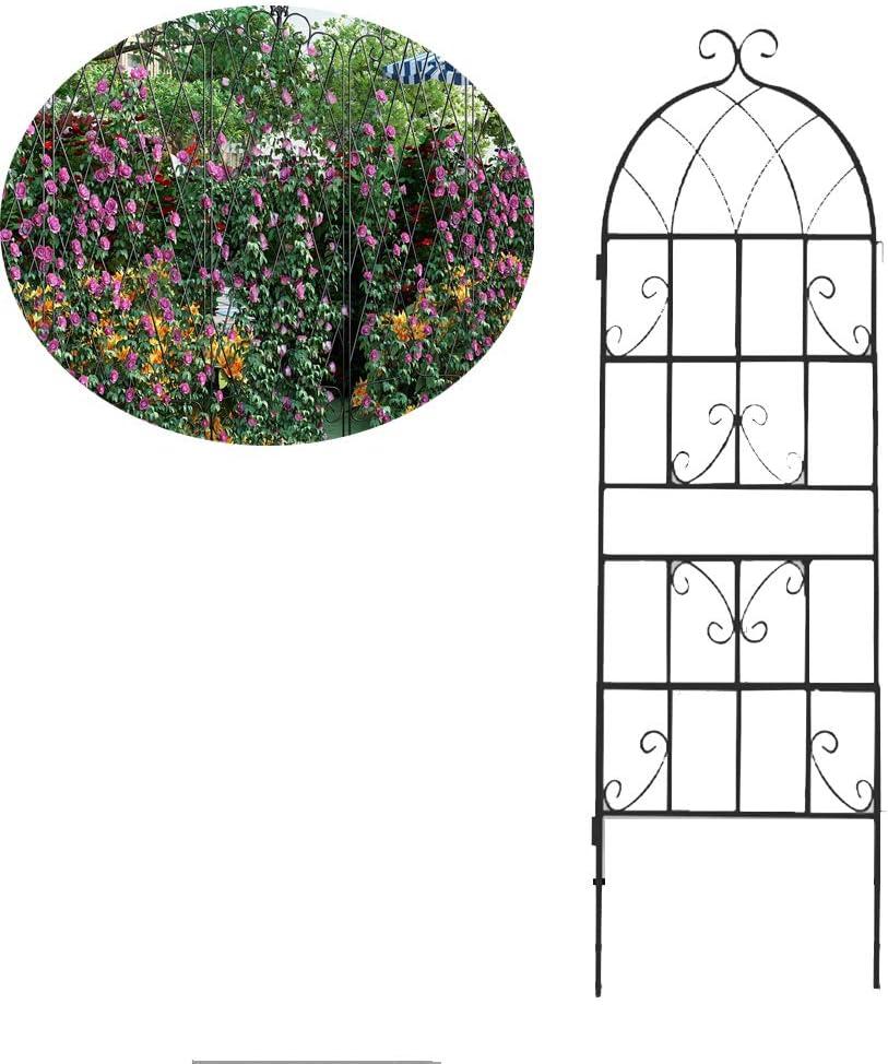 Vinesのための庭のトレリスとクライミング植物アイビーバラキュウリ、クレマチスサポート、耐久性&頑丈で美しい植物装飾用防錆ブラックメタルワイヤー格子グリッドパネル,150cm
