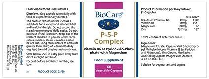 Amazon.com: BioCare P-5-P Complex Vitamin B6, Carotene & Zinc - 60 Capsules: Health & Personal Care