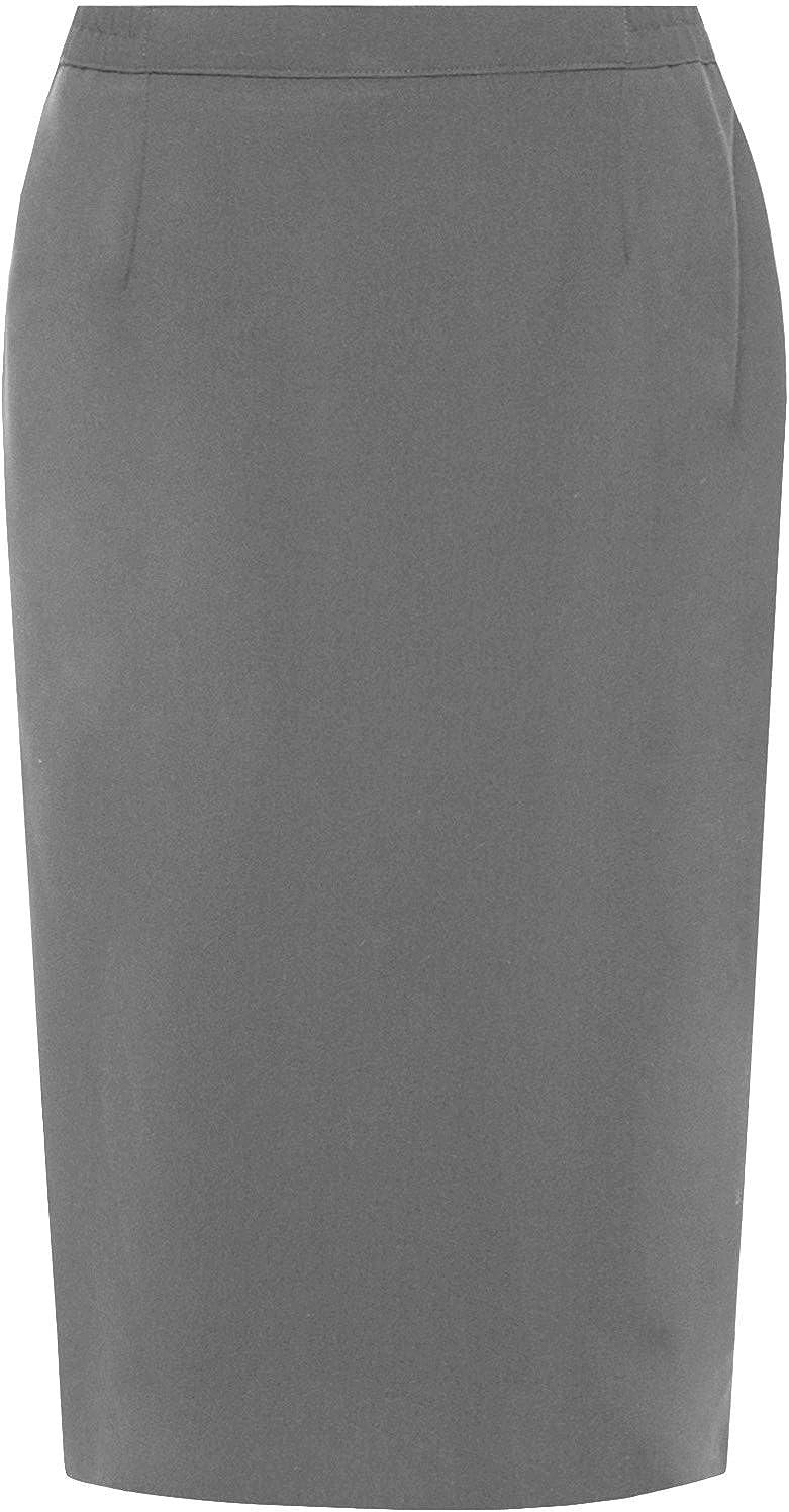 Damen Einfarbig Office Damen Stretch Bodycon Midi Bleistiftrock Übergröße 8-22