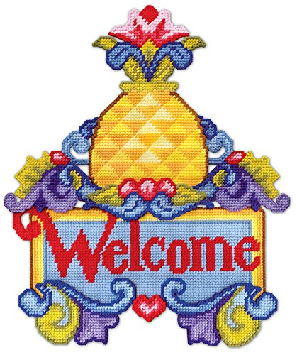 Crafts Plastic Canvas Pineapple Welcome