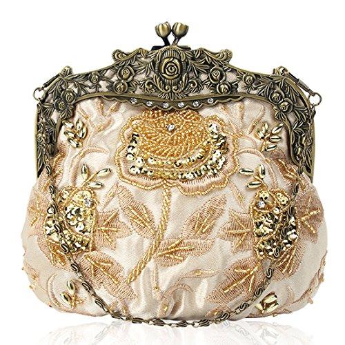 Floral Kissing Evening Interior Beaded Womens Clutch Sequin Satin Vintage Handbag Design Gold Lock ztwOzXn8qg