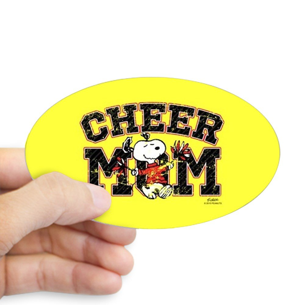 Amazon com cafepress snoopy cheer mom full bleed sticker oval bumper sticker euro oval car decal home kitchen