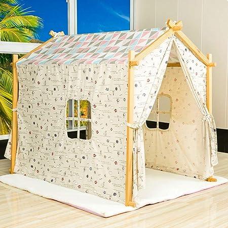 Kibten De gran tamaño Moderno Niño de madera Juego de casa Teepee Casa de juguete Interior