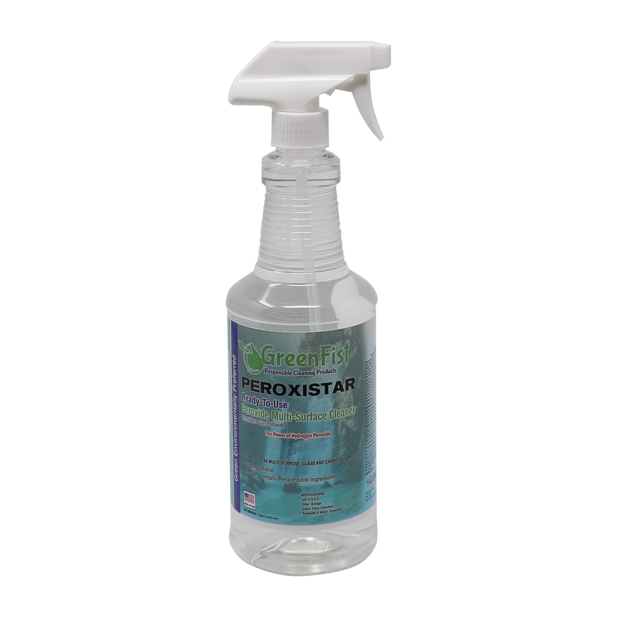 GreenFist PeroxiStar Hydrogen Peroxide Multi Surface Cleaner Disinfectant [Ready to Use], (Spray Bottle 32 oz)