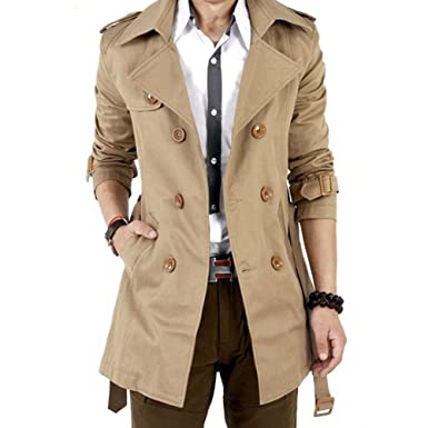 7fd6d6474b4b Gleader Mens Winter Slim Double Breasted Trench Coat Long Jacket Overcoat  Outwear Khaki Size XXL/US L: Amazon.co.uk: Clothing