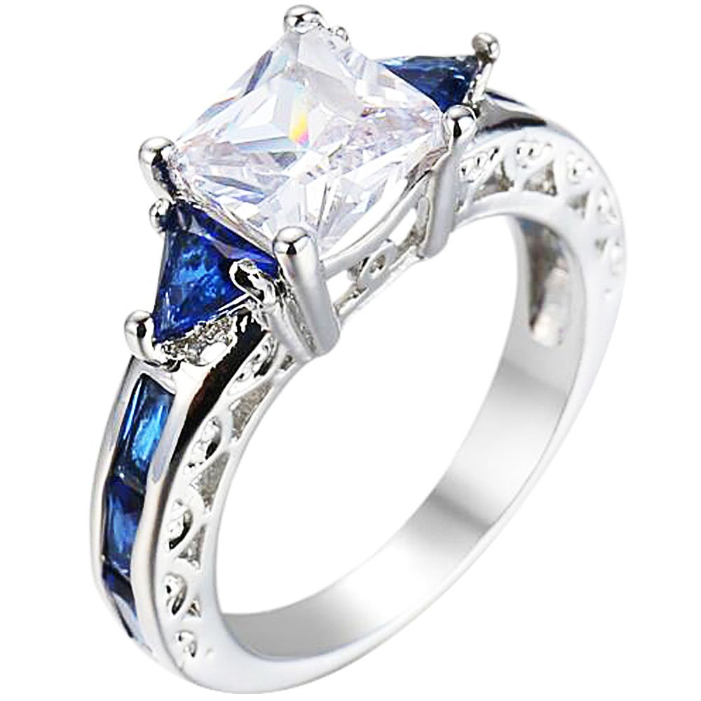 XAHH Women White Gold Plated Square Sapphire Blue Double Tone CZ Bridal Engagement Wedding Ring Size 5-10 Size 7