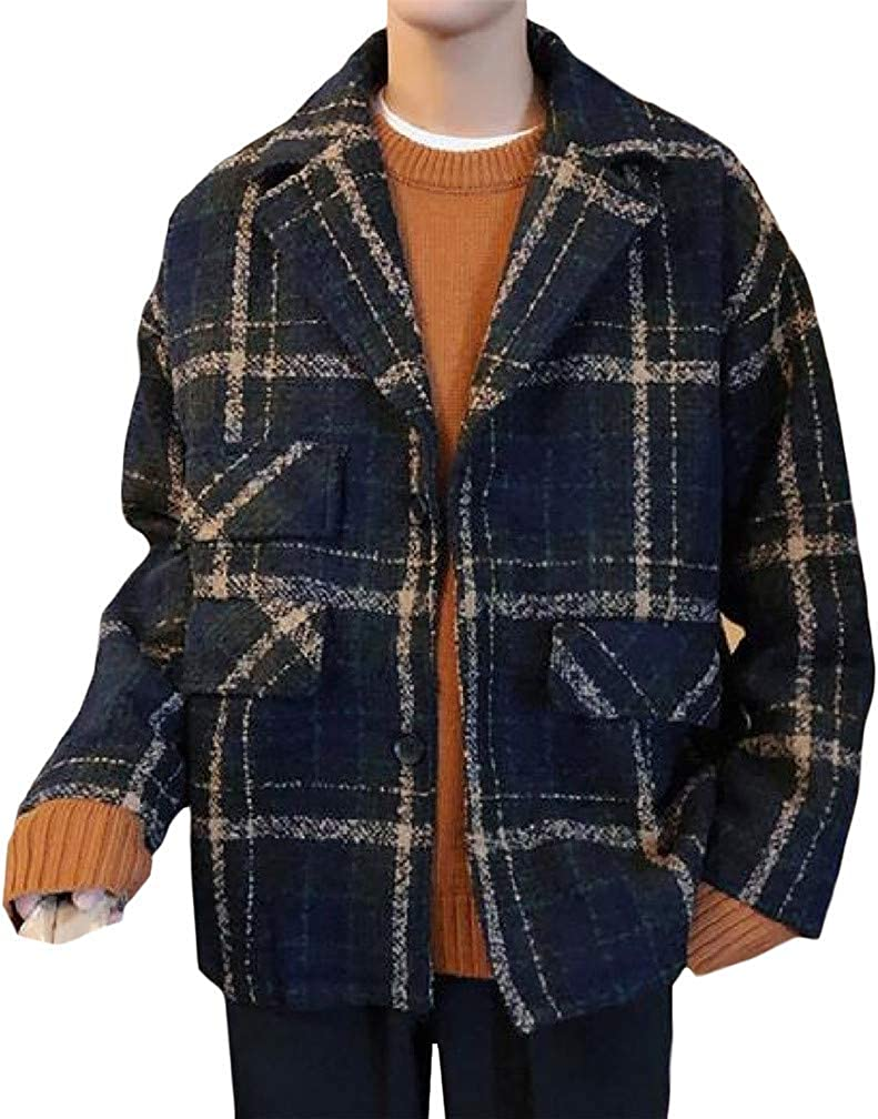Joe Wenko Men Plaid Comfortable Wool-Blend Lapel Neck Padded Sports Blazer Jacket