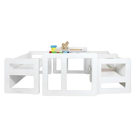 Obique 3 en 1 Muebles para Niños, Juego de 4, Dos Sillas Mesas Pequeñas