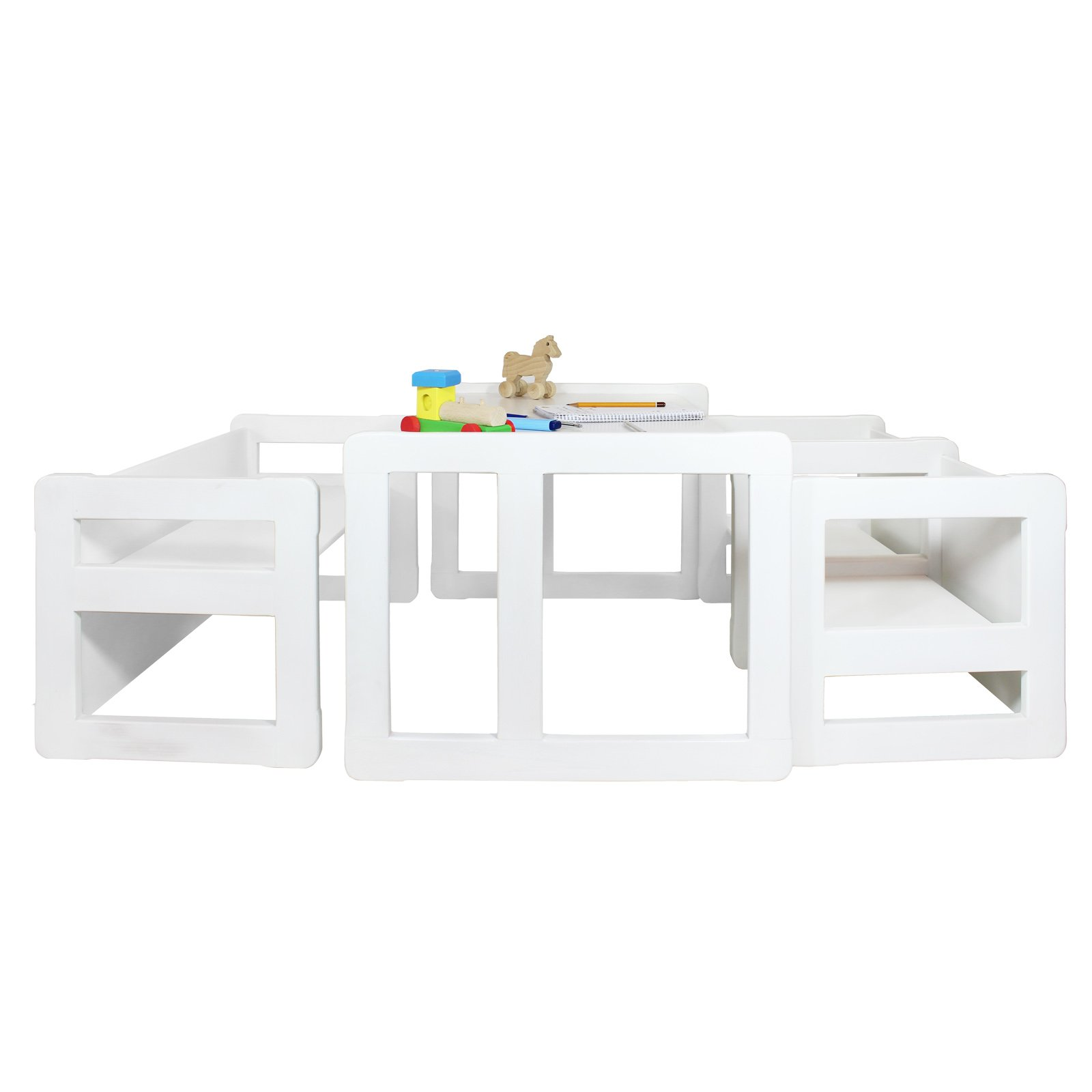 3 in 1 Childrens Multifunctional Furniture Set of 4, Two Small Chairs or Tables and One Small Bench or Table and One Large Bench or Table Beech Wood, White Stained by Obique Ltd (Image #1)