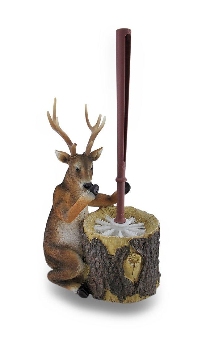 Zeckos Resin Toilet Brushes Deer Attendant Toilet Brush And Holder 2 Piece Set 7.75 X 12 X 5 Inches Brown