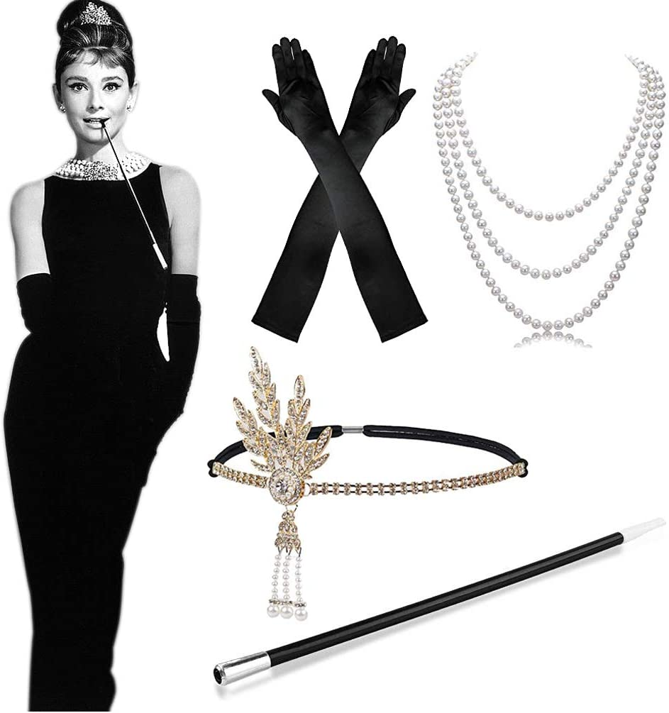MMTX 1920 Conjunto de Accesorios de Disfraces, años 20 Flapper Costume Dress Gran Gatsby Accessories Vintage Diadema, Largos Guantes de satén Negros, Collar de Perlas para Mujeres, señoras