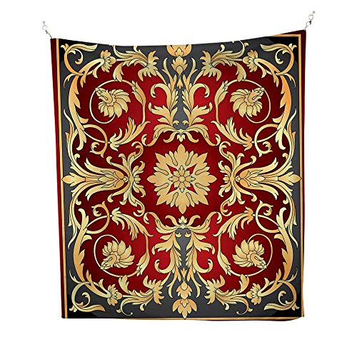 Turkish Patternoutdoor tapestryOttoman Spiral Foliage Pattern Frame Filigree Style Royal and Retro 70W x 84L inch Ceiling tapestryRuby Mustard - Frame Filigree Band