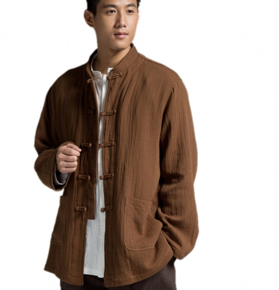 Katuo Chinese Traditional Men's Casual Shirt Blouse Meditation Outwear S-2XL (L, Coffee)