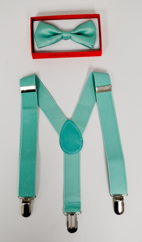 Teal Suspender and Bow Tie for Toddler Baby Boys Girls Child Under Age of 6 by Four-season store