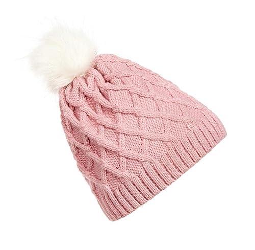 Tongshi Mujeres caliente invierno piel tejido lana Crochet Ski Cap gorro