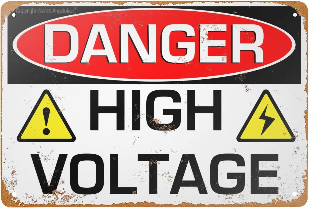 "Tin Sign -Danger HIGH Voltage- Vintage Style Bar Pub Garage Hotel Diner Cafe Home Iron Mesh Fence Farm Supermarket Mall Forest Garden Door Wall Decor Art (8""x12"")"