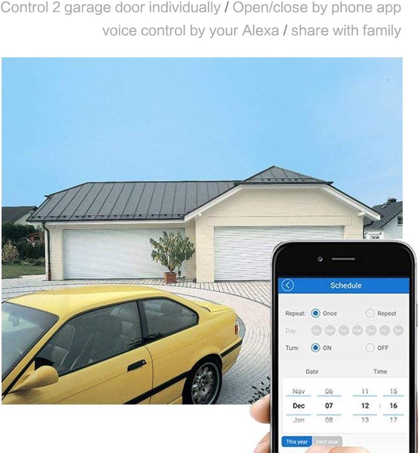 mode de verrouillage /à verrouillage automatique entrant compatible avec Alexa Goolge Home IFTTT pour porte de garage intelligente avec contr/ôle dacc/ès MHCOZY 4CH Relais de commutation WiFi RF