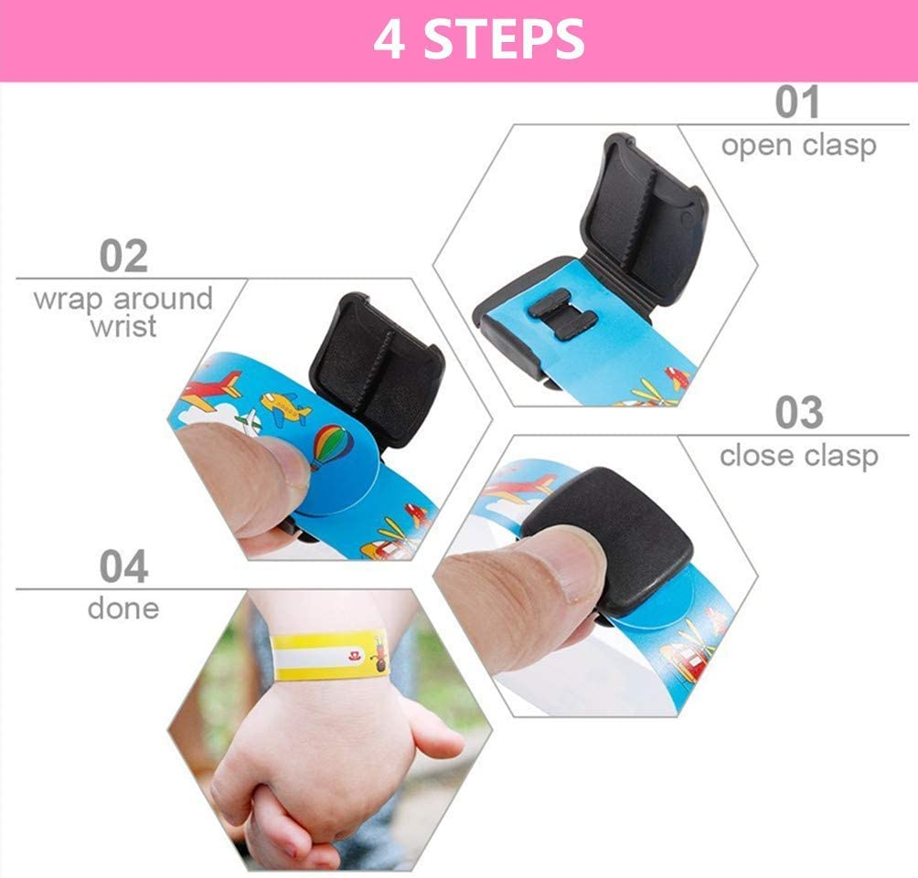 Waterproof ID Wristband Safety Wristband Name tag Wristband for Children,8Pcs Kids ID Bracelet Waterproof and Reusable