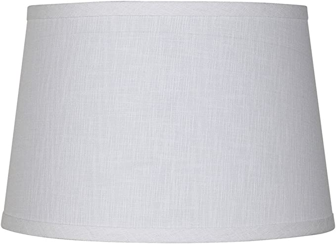 Alucset Drum Fabric Lampshades for Table Lamp and Floor Light,10x12x8 inch,Natural Linen Hand Crafted,Spider, White 1Pc Medium Lamp Shade