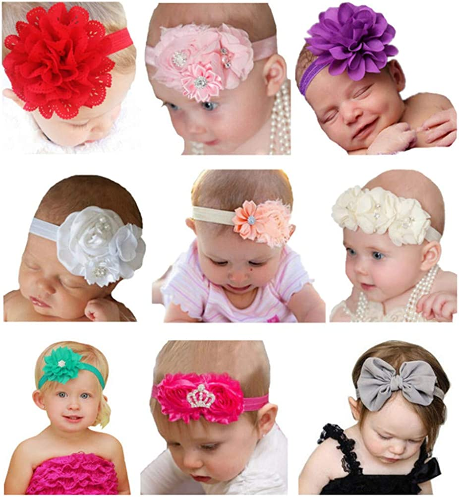 6 month Mouse Ears Girls Headband Newborn Shower Gift Photography Dahlia Birthday Cake Smash Photo Outfit Glitter with fabric Flowers