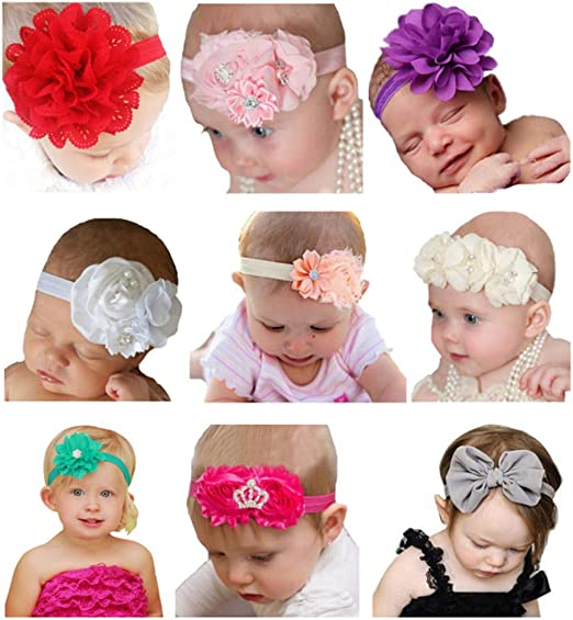 AM/_ NEWBORN BABY GIRL TODDLER KID FLOWER HEADBAND PARTY HAIRBAND PHOTO PROP STRI