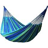 TRIXES Hamac Portable Bleu et Vert de 2 Mètres pour Jardin Camping Voyage