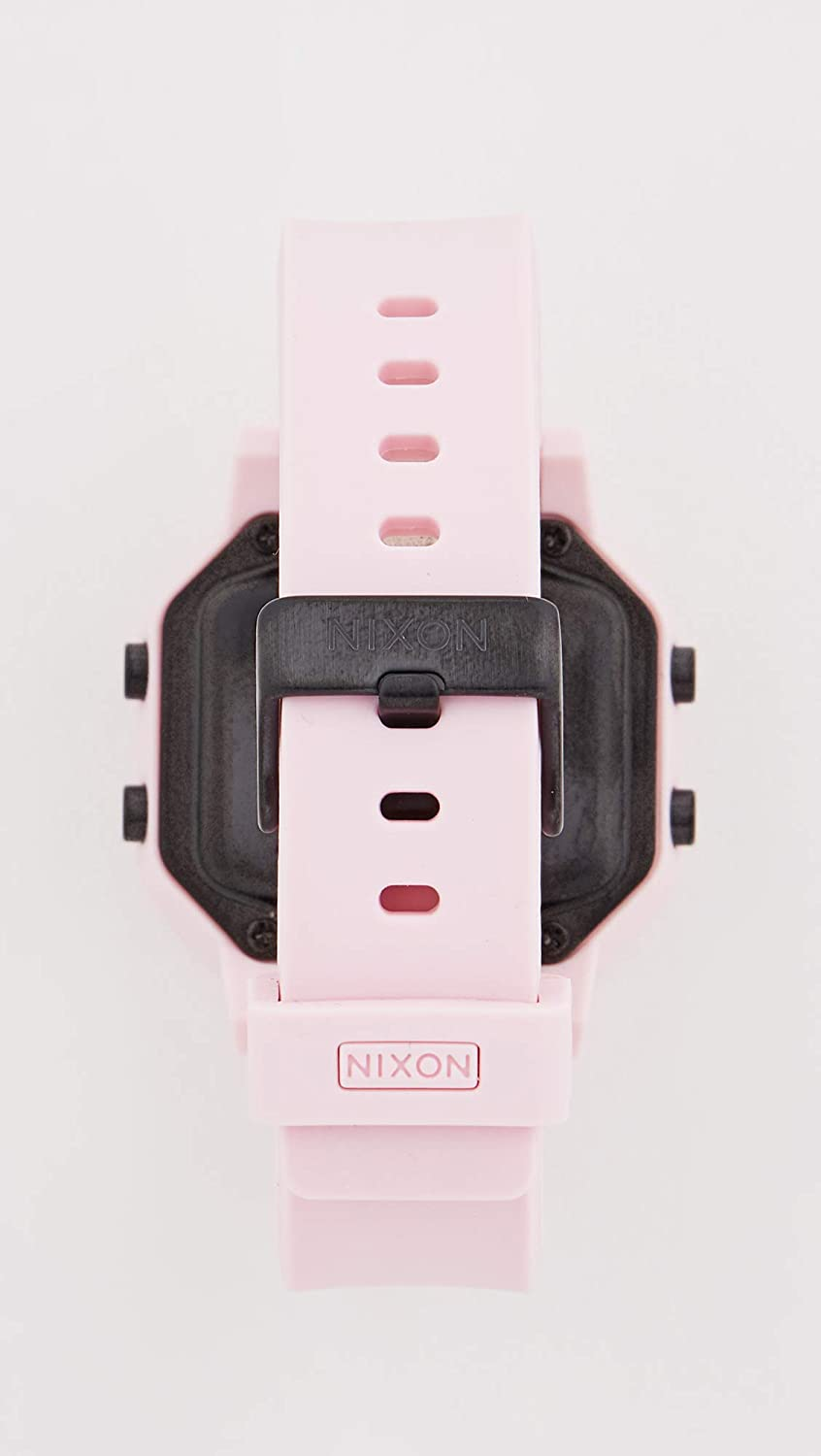 NIXON Siren A1210-100m Water Resistant Women's Digital Sport Watch (38mm Watch Face, 18mm-16mm Pu/Rubber/Silicone Band) Pale Pink