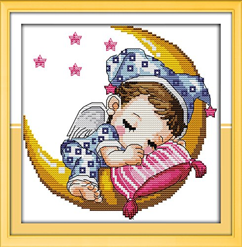 Happy Forever Cross Stitch Cartoon, the moon baby