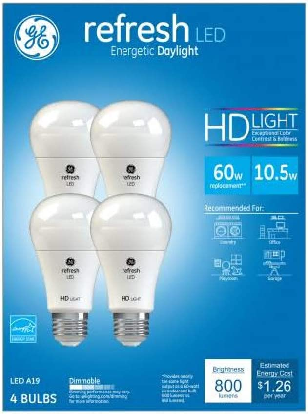 GE Refresh Daylight Hd 60Watt Equivalent A19 Led 4 Pack