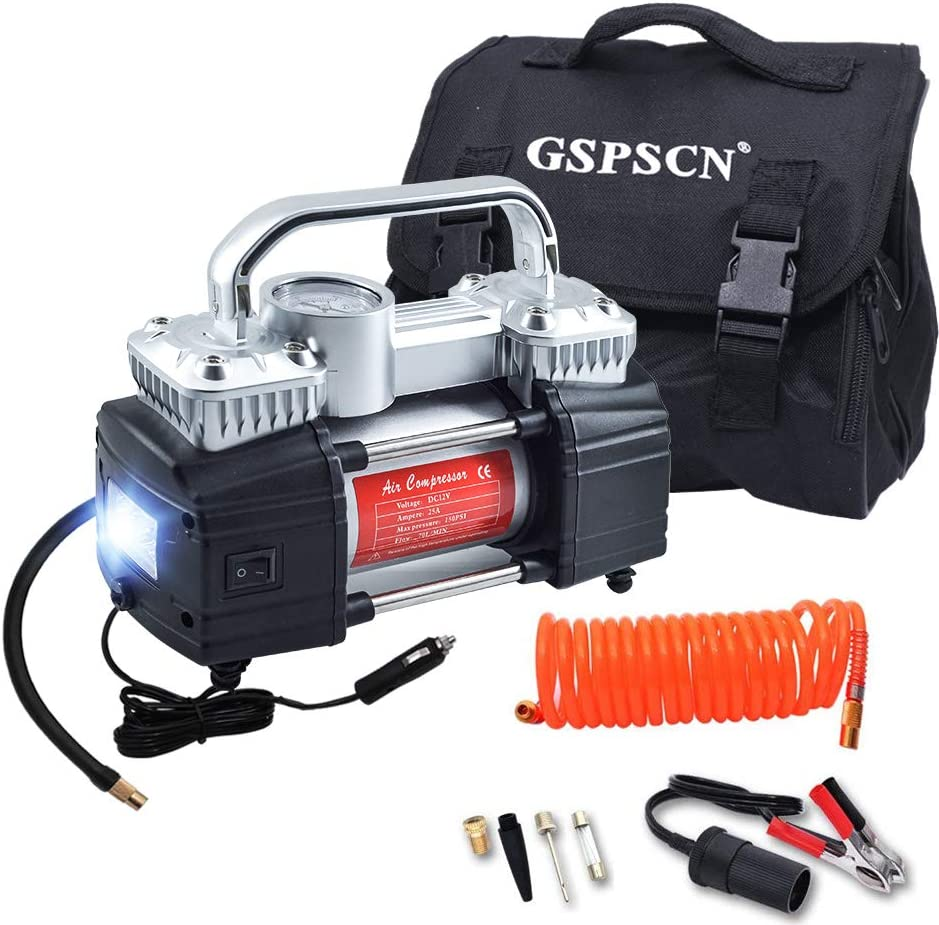 GSPSCN Silver Dual Cylinder Air Compressor, Heavy Duty Portable Tire Inflator 12V 150PSI for Fast Pumping with LED Work Lights