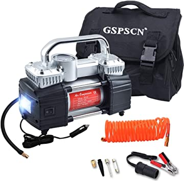 GSPSCN Portable Air Compressor Pump Dual Cylinder Heavy Duty Tyre Inflator with LED Light,150 PSI 12V 70L//Min Electric Air Pump with Tire Repair Kit and Toolbox