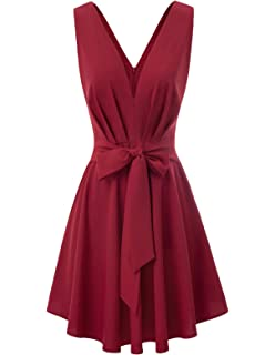 b3f2d3a5292 GRACE KARIN Women Belted Tie Front Ruched A-Line Dress Casual V Neck Solid  Color