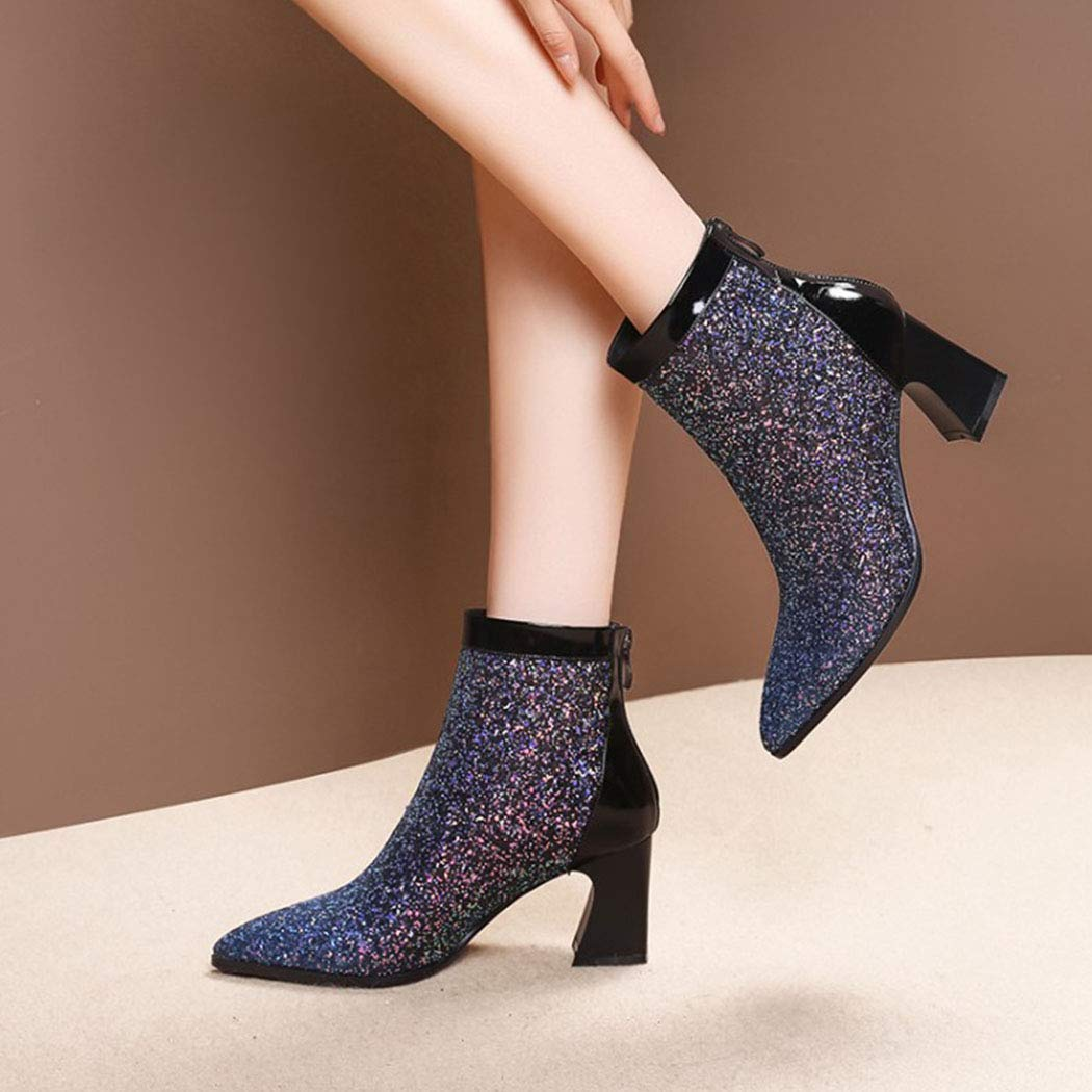 RLYAY Frühling und High Herbst High und Heels Frau Chelsea Martin Stiefel Shiny Booties Blau Einzelne Schuhe & Plüsch 4daa69